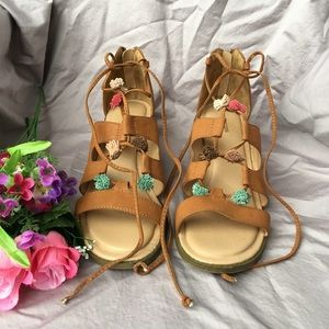 Tan Pom Heel Sandals